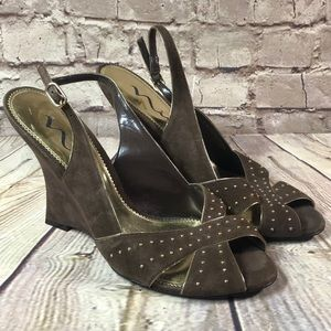 NINA SHOES Sandals Wedge Brown Suede 10